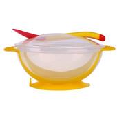 Тарелка на присоске с крышкой + силиконовая термо-ложка