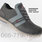 Мужские кожаные демисезонные туфли Ecco реплика