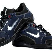 Мужские осенние кроссовки черные с синим Ю32/2 ч-с