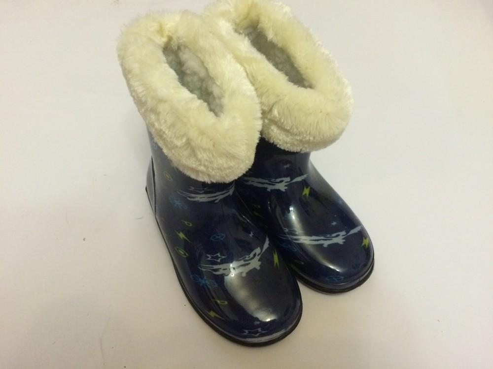 Резиновые сапоги синие для мальчика с утеплителем фото №1