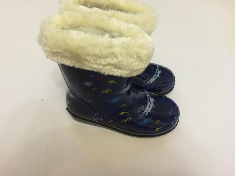 Резиновые сапоги синие для мальчика с утеплителем фото №2