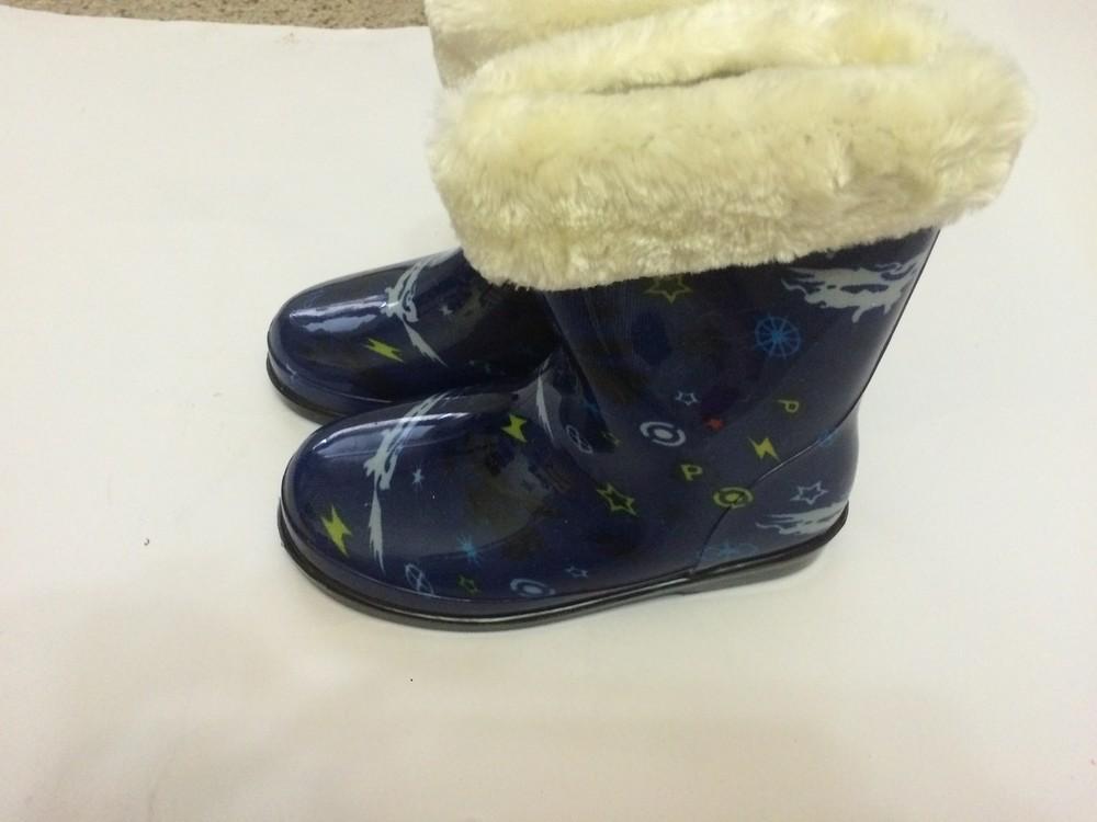 Резиновые сапоги синие для мальчика с утеплителем фото №4