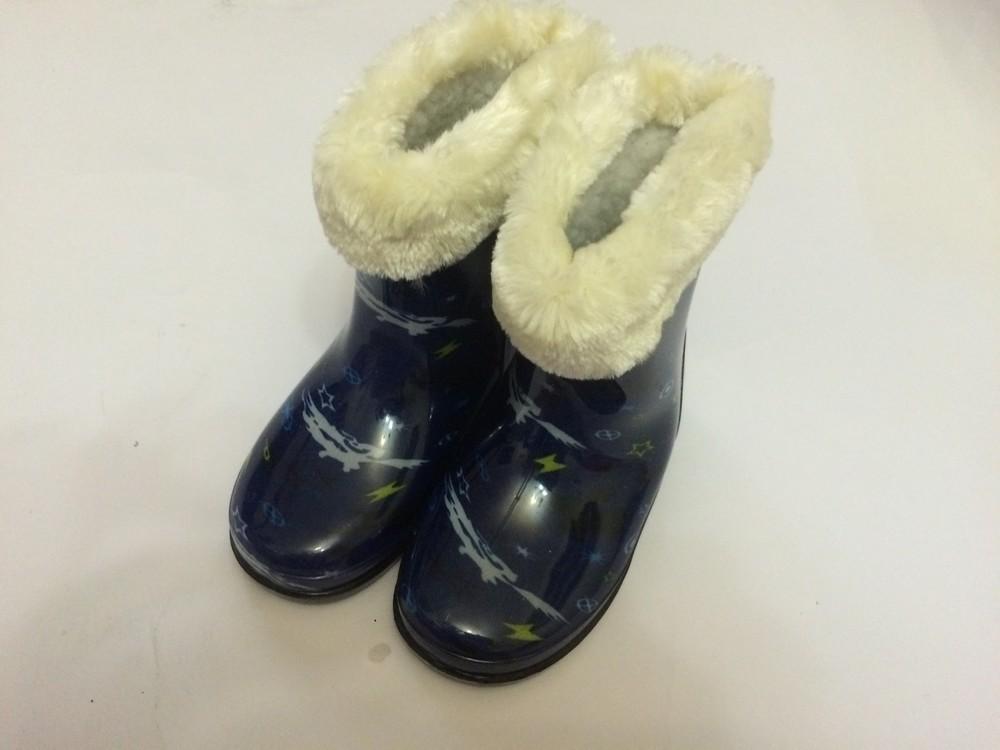 Резиновые сапоги синие для мальчика с утеплителем фото №5