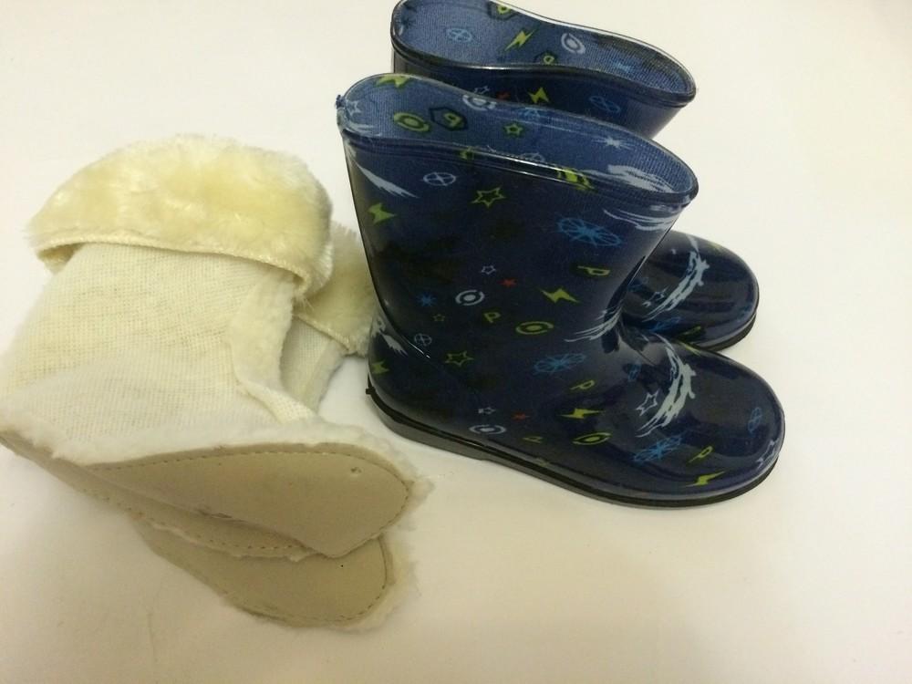 Резиновые сапоги синие для мальчика с утеплителем фото №6