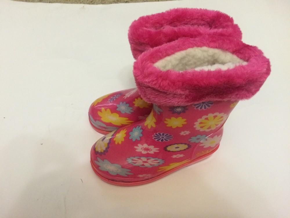 Резиновые сапоги розовые для девочки с утеплителем фото №1
