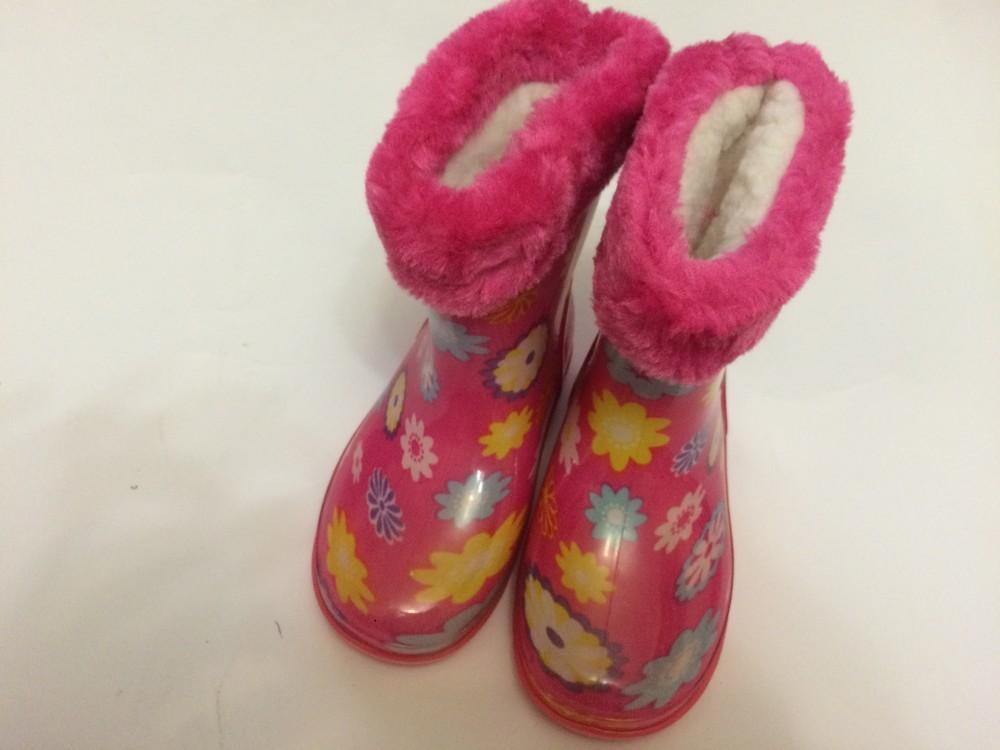 Резиновые сапоги розовые для девочки с утеплителем фото №2