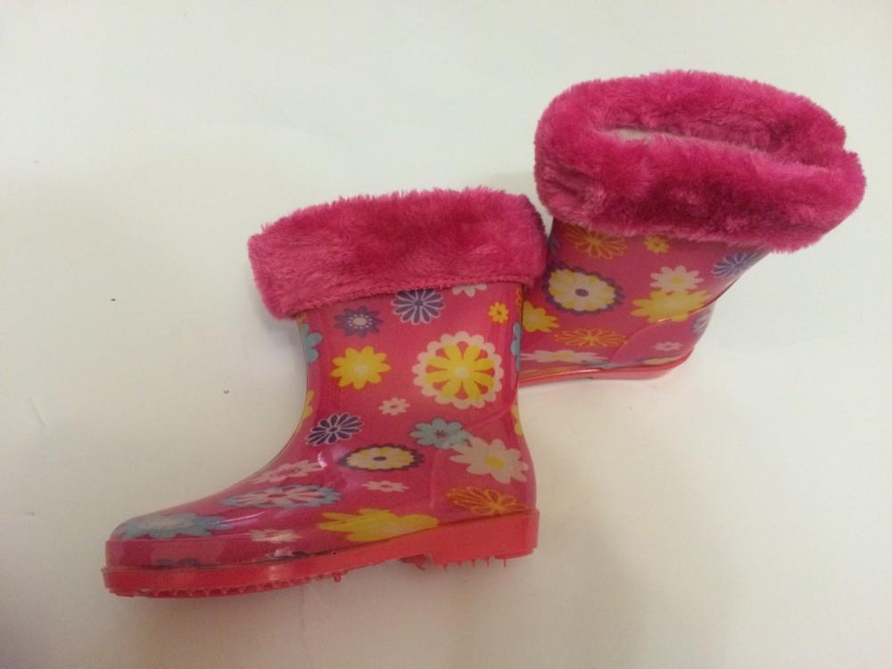 Резиновые сапоги розовые для девочки с утеплителем фото №3