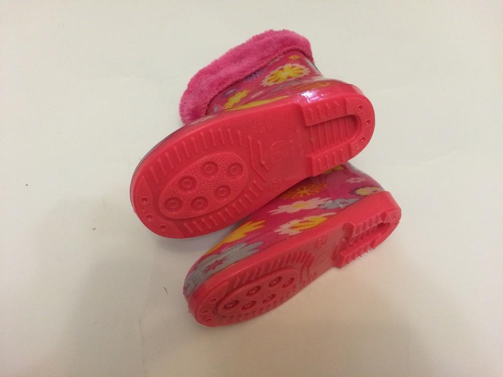 Резиновые сапоги розовые для девочки с утеплителем фото №4