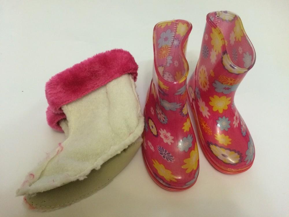 Резиновые сапоги розовые для девочки с утеплителем фото №5