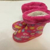 Резиновые сапоги розовые для девочки с утеплителем