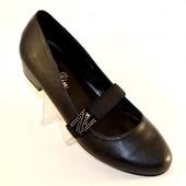 Туфли на маленьком каблуке на резинке Т360