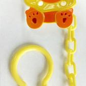 Цепочка для пустышки пластиковая Lindo Львенок на клипсе РК 214