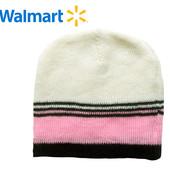 Шапка деми на 0-2 лет Walmart Америка молочная в полоску двойная вязка