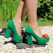 Туфли на толстом каблуке оригинальные Т34