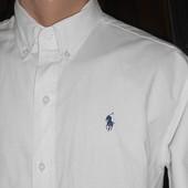 Стильная белая рубашка Polo. L. 100% коттон