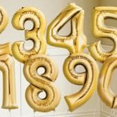 Воздушный шар . Цифра фольгировання 0-9 золото, серебро, розовые, голубые