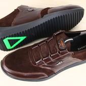 Мужские спортивные туфли Lacoste шоколадного цвета из натуральной замши и кожаными вставками на шнур