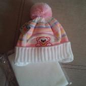 В наличии!  шапочка шапка для девочки 1-2 года