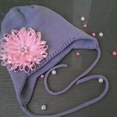 Двойная мериносовая шапочка с цветком (свяжу на заказ)