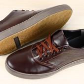 Код: 2302-2 Мужские спортивные туфли темно-коричневые кожаные