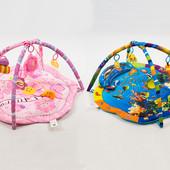 Коврик для младенцас подвесками 2 вида, подвески, муз, 2 дуги, в сумке