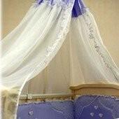 Распродажа - Балдахин на кроватку цвет голубой с белым  от Ассоль (Беларусь)