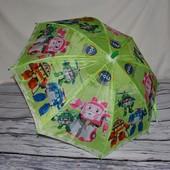 Зонтик детский полуавтомат с изображением героев м/ф Робокар Полли Robocar Poli тканевый
