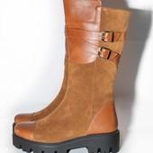 женские кожаные/замшевые полусапожки демисезон/зима Модель: Д -31
