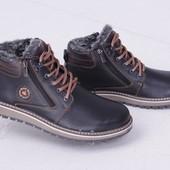 Зимние мужские ботинки, черно-коричневые