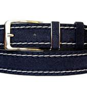 Мужской ремень пояс синего цвета эко-замша (П-022)