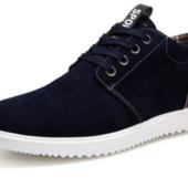 Ботинки слипоны мужские замшевые темно синие