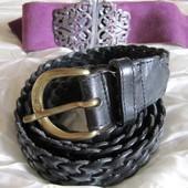 Ремень пояс черный кожаный плетеный