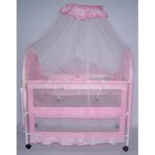 Детская кроватка XG9136  металлическая (розовая)