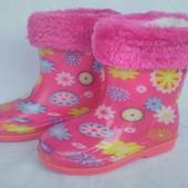 """Сапоги резиновые со съемным мехом, розовые на девочку, цветы,  ТМ """"Dual"""", размеры: 22, 23, 24, 25, 2"""
