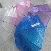 Зонт C12695  6 видов, клеенка с теснением, переливается, в пакете 55 см C12695