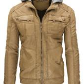Мужская куртка с капюшоном эко-кожа