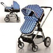 Детская коляска-трансформер Bambi синяя 6811-4 с глубоким капюшоном