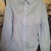 T.M.Lewin Классическая Рубашка мужская с длинным рукавом под запонки светло-голубая 54р