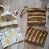 Новые шапочка и шарфик на 1-2 года, лот  - 1 набор  с первого фото.