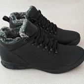 Зимние ботинки на меху, из кожи