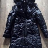 Чёрное пальто, пуховик с натуральным мехом кролика