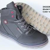 Мужские зимние ботинки на меху черные R36