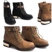 Черные и бежевые ботинки женские