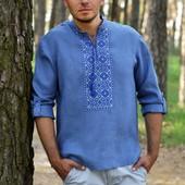 Сорочка з вишивкою в джинсовому стилі