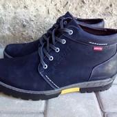 Ботинки зима КОЖА(нубук) черные и синие