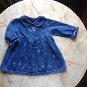 Джинсовое платье фирмы George на возраст 3-6 мес (реально до годика)