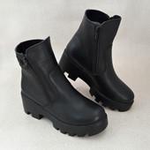 Ботинки зима тёплые на танкетке-каблук
