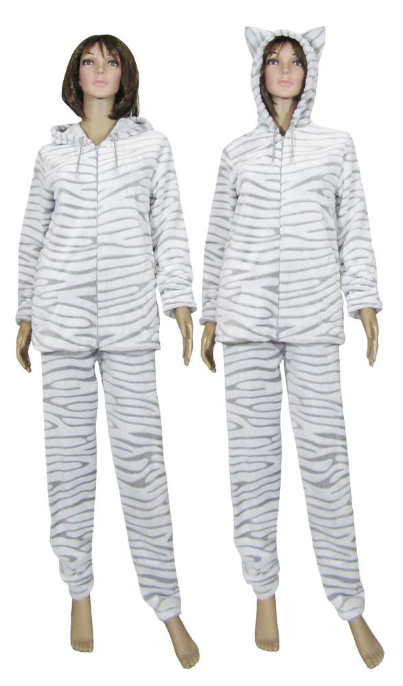 676572d1319c7 Домашние женские махровые пижамы и костюмы, с капюшоном, с ушками р ...