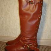 Сапоги рыжие кожаные осенние Nine West р. 37
