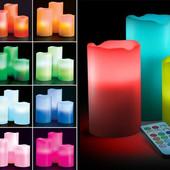Светильник набор из 3 LED свечей с дистанционным управлением
